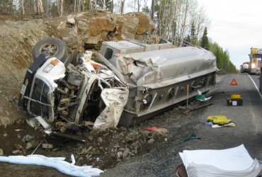 Fuel Truck Spill on Hwy 527 clean up done by Potter Environmental