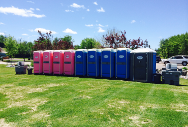 Potter Environmental Pink and Blue Porta Potties at Relay for Life 2014